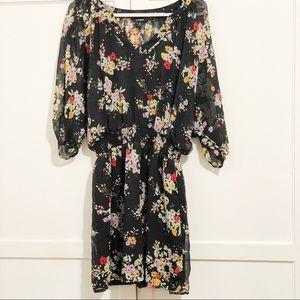 Express Black Floral Sheer Lined Dress